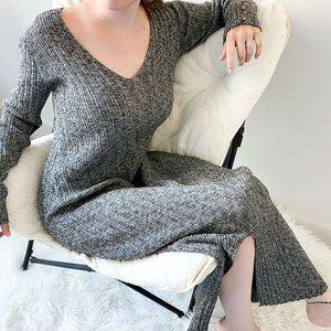 Asos Grey Maxi Dress Ribbed Long Sleeve Bodycon